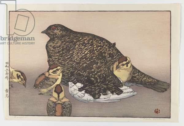 Raicho (Hen with Four Chicks), 1930 (print)