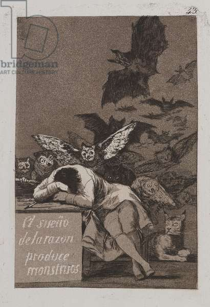 The Sleep of Reason Produces Monsters (El sueño de la razon produce monstruos), 1797-98 (etching & aquatint)