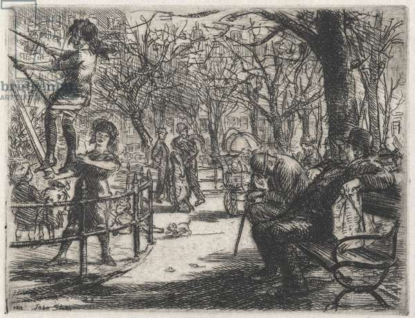 Swinging in the Square, 1912 (etching)