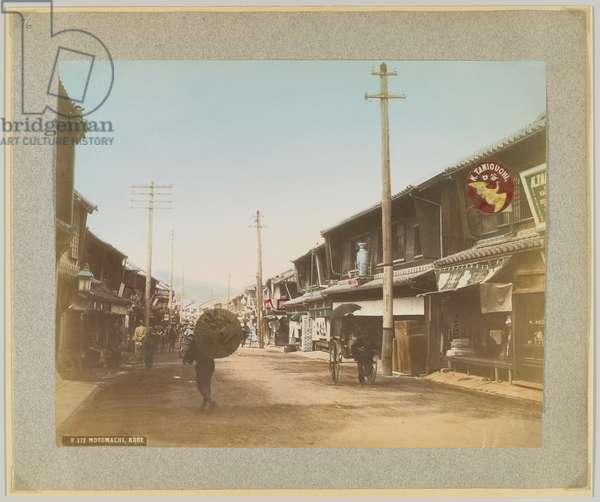 Motomachi, Kobe, Japan (hand-coloured b/w photo)