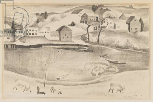 Rural scene with pond and sheep, c.1920-30 (graphite on paper)