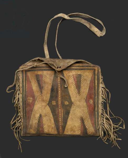 Woman's Fringed Raw Hide Bag with Strap for Carrying, Comanche, c.1900 (hide, pigment)