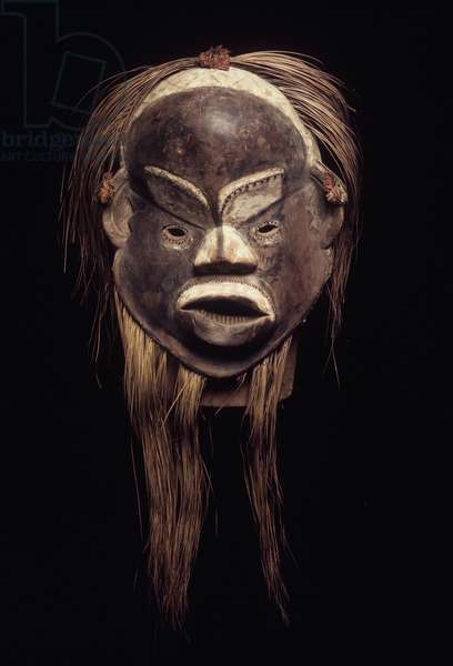 Lion mask, Luba Culture, from Democratic Republic of the Congo (wood, pigment & hair)