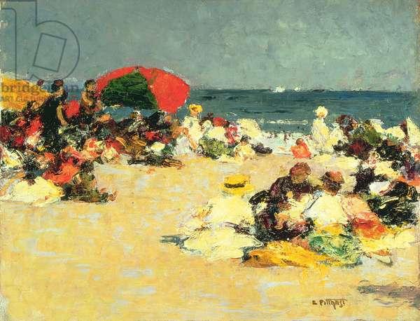 On the Beach (oil on panel)