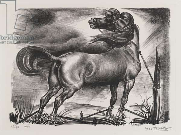 Untitled, Horse Tied to Post, 1932 (litho)