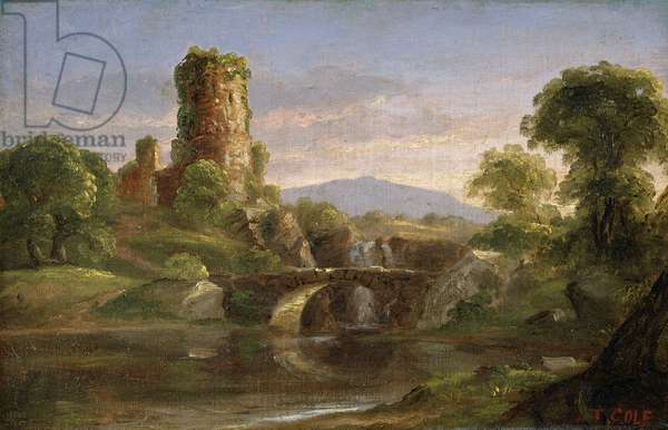 Castle and River (oil on canvas)
