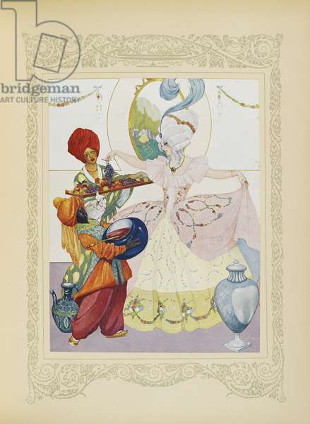 We filled basins, served her fruit and jars of jam, illustration from 'Contes du Temps Jadis', or 'Tales from Times Past', p.56, 1912 (colour litho)