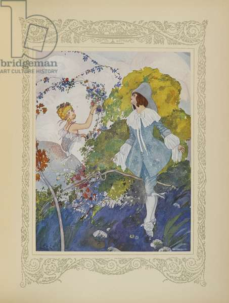He saw a girl who was so beautiful that he decided to marry her, illustration from 'Contes du Temps Jadis', or 'Tales from Times Past', p.110, 1912 (colour litho)