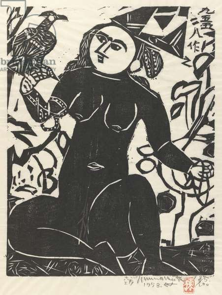 Hawk Woman (woodcut)