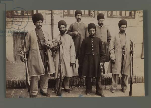 A Persian Dignitary Accompanied by Five Soldiers (silver albumen photo)
