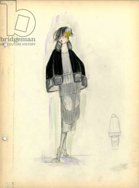 Dress and cape, Chanel, 1919 (pencil & w/c on paper)
