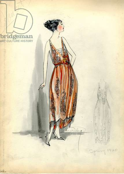 Evening Dress, Doucet, Spring 1920 (pencil & w/c on paper)