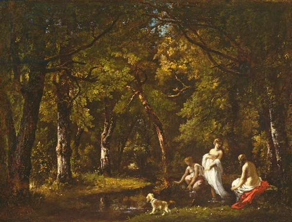 Bathers by a Woodland Stream, 1859 (oil on glue-lined canvas)