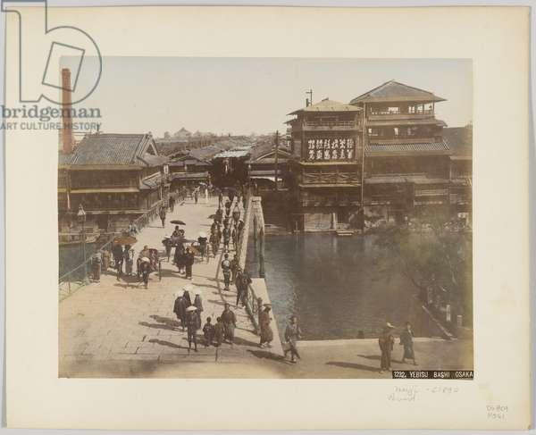 Yebisu Bashi, Osaka, Japan, c.1890 (hand-coloured b/w photo)