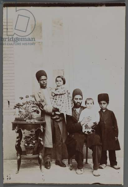 His Excellency the Mohteshem-al-Vexareh's Two Daughters and Servants, late 19th-early 20th century (silver gelatin print)