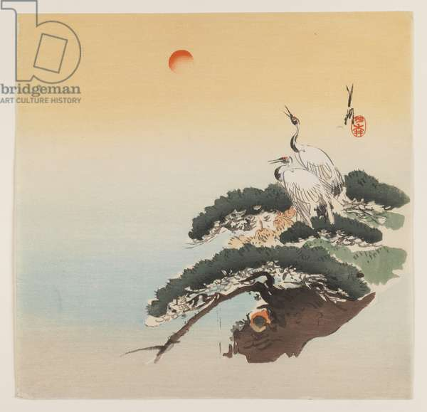 Pair of Cranes on a Branch, c.1890-1910 (woodblock colour print)