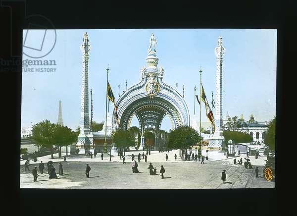 Paris Exposition: Man Entrance Gate, Paris, France, 1900 (lantern slide)