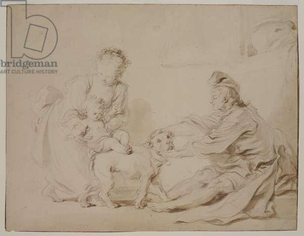 The First Riding Lesson (La première leçon d'équitation), c.1778 (graphite and brown wash on antique laid paper)