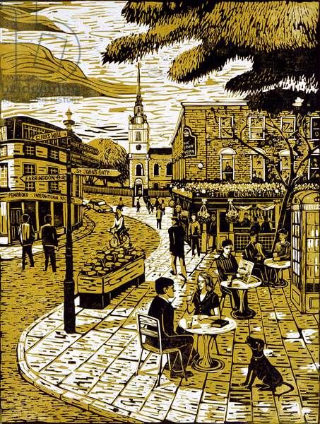 Clerkenwell Green, 2001 (lino print)