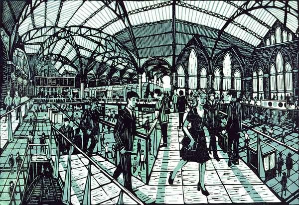 Liverpool Street Station, 2001 (lino print)