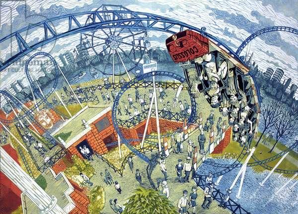 Colossus, Thorpe Park, 2006 (lino print)