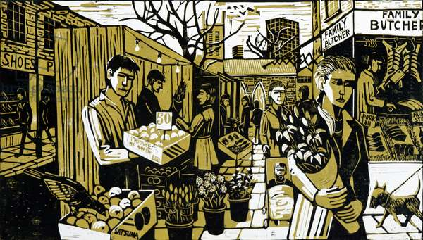 North End Road Market, 1998 (lino print)