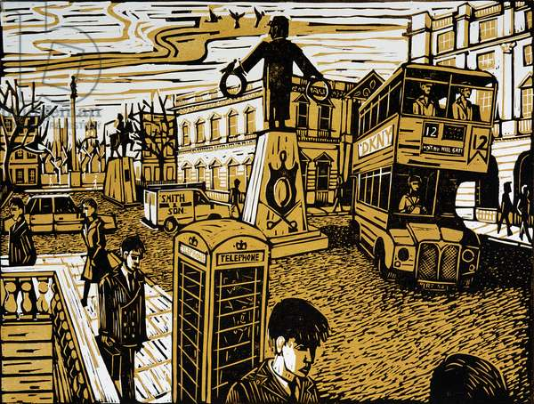 Lower Waterloo Place, 1998 (lino print)