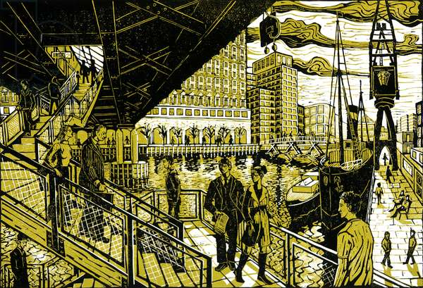 South India Quays, 2002 (lino print)
