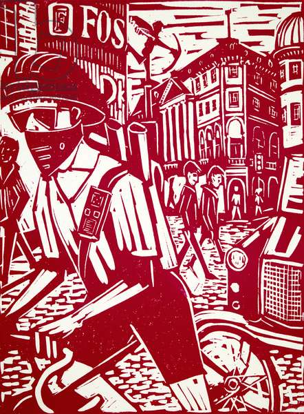Cycle Courier, 1998 (lino print)