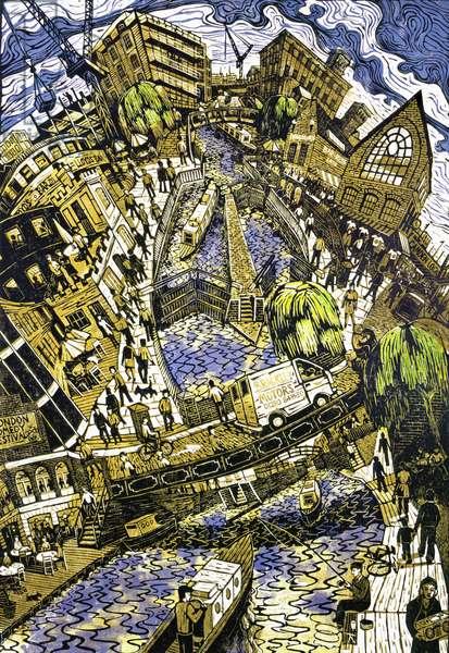 Camden Lock, 2003 (lino print)
