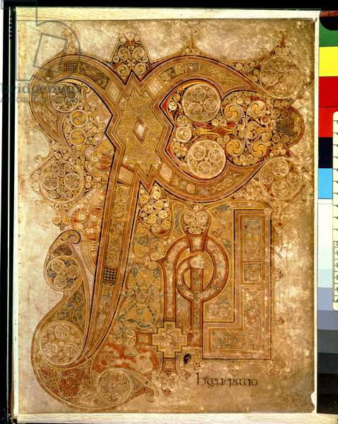 MS 58 fol.34r Chi-rho, from the Gospel of St. Matthew, chapter 1 verse 18, from the Book of Kells, c.800 (vellum)
