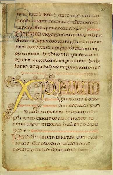 Ms 57, f.23r: The Chi Rho monogram (vellum)