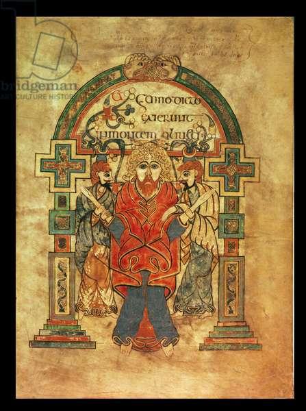 MS 58 fol.114r The Arrest of Christ, Gospel of St. Matthew, from the Book of Kells, c.800 (vellum)