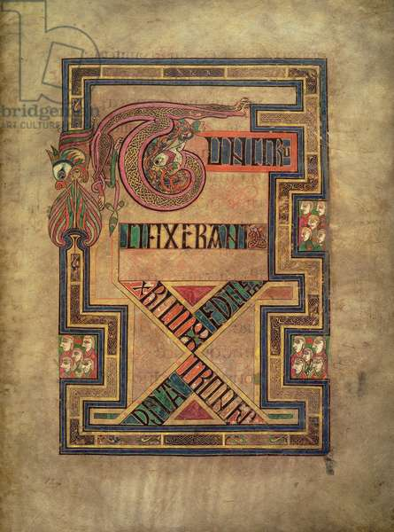 MS 58 fol.124r Page concerning the crucifixion of Christ from the Gospel of St. Matthew with roaring profile lions, from the Book of Kells, c.800 (vellum)