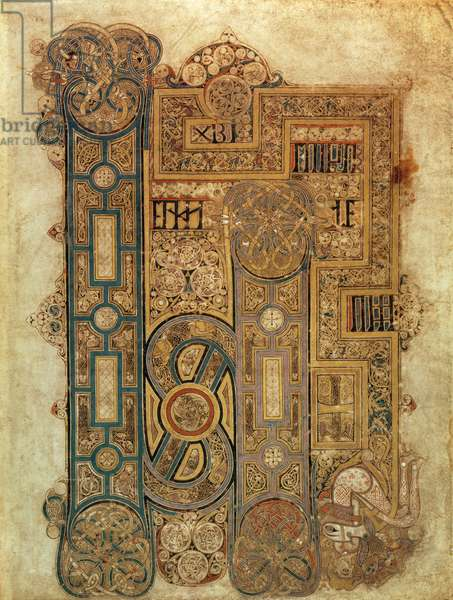 MS 58 fol.130r Opening words of the Gospel of St. Mark, from the Book of Kells, c.800 (vellum)