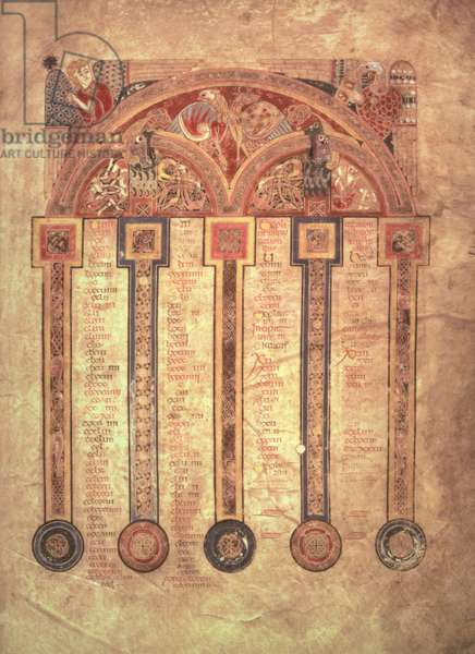 MS 58 fol.5r Canon table, from the Book of Kells, c.800 (vellum)