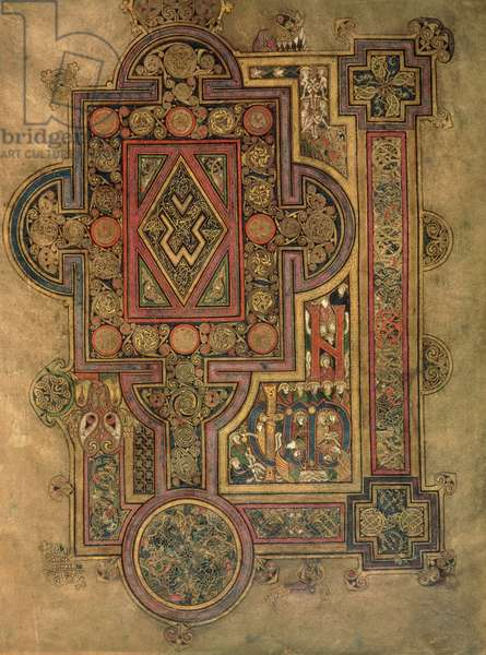 MS 58 fol.188 Opening words of the Gospel of St. Luke, from the Book of Kells, c.800 (vellum)