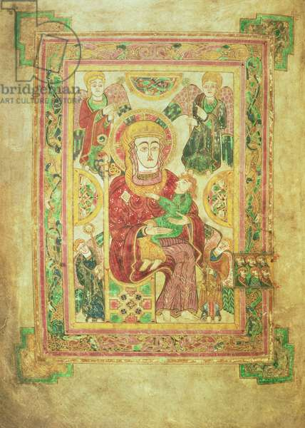 MS 58 fol.7v Virgin and Child Enthroned, from the Book of Kells, c.800 (vellum)