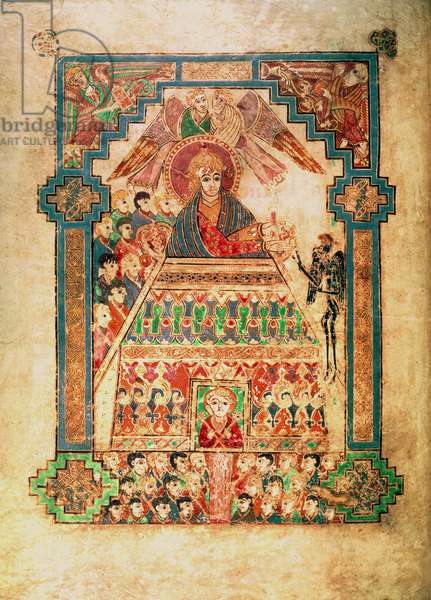 MS 58 fol.202v The Devil Tempting Christ to cast Himself down from the Temple, illumination to the Gospel of St. Luke, from the Book of Kells, c.800 (vellum)