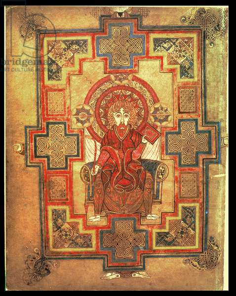 MS 58 fol.291v Portrait of St. John, page preceding the Gospel of St. John, from the Book of Kells, c.800 (vellum)
