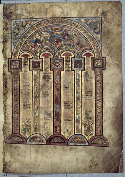 Ms 58, f.2r: Canon Tables, from the Book of Kells, c.800 (vellum)
