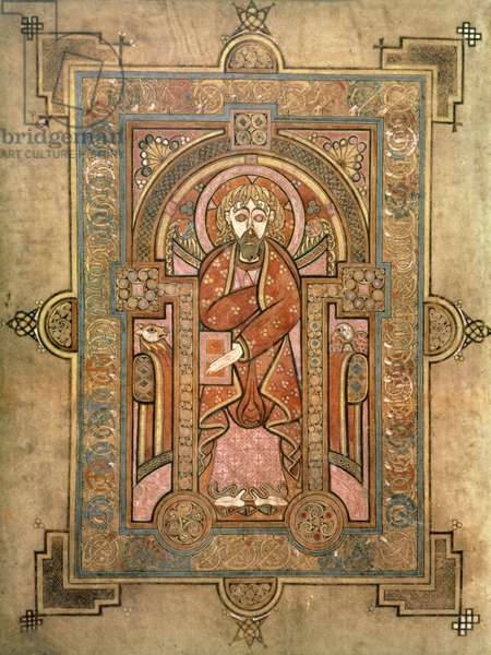 MS 58 fol.28v St. Matthew, introductory page to the Gospel of St. Matthew, from the Book of Kells, c.800 (vellum)