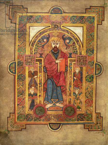 MS 58 fol.32v Christ with four angels, introductory page to the Gospel of St. Matthew, from the Book of Kells, c.800 (vellum)