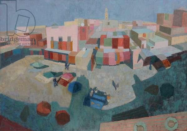 Carpet Souk, Marrakech, 2013 (oil on gesso panel)