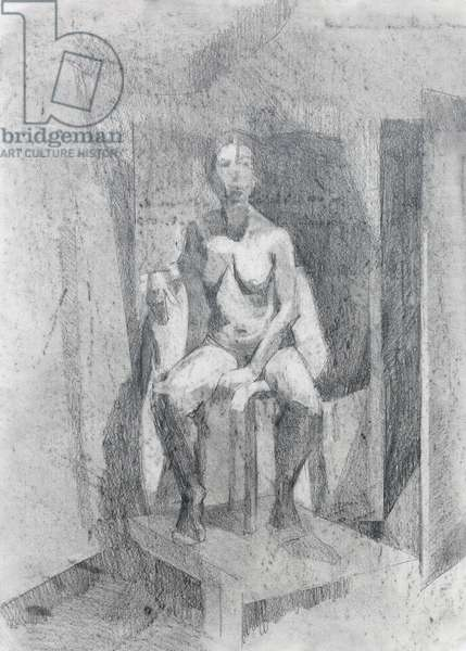 Drawing, Studio Corner, 2014 (graphite and charcoal on paper)