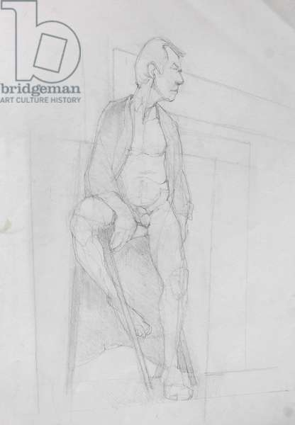 Drawing, David In His Dressing Gown, 2014 (graphite on paper)