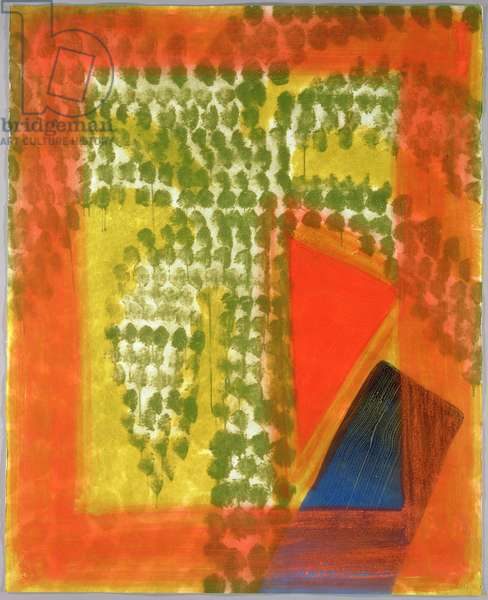 Street Palm, 1990-91 (hand-coloured etching with carborundum)