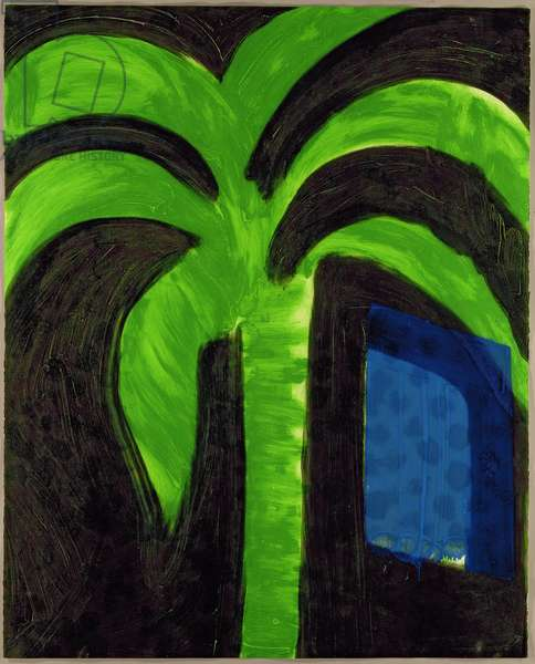 Palm and Window, 1990-91 (hand-coloured etching with carborundum)