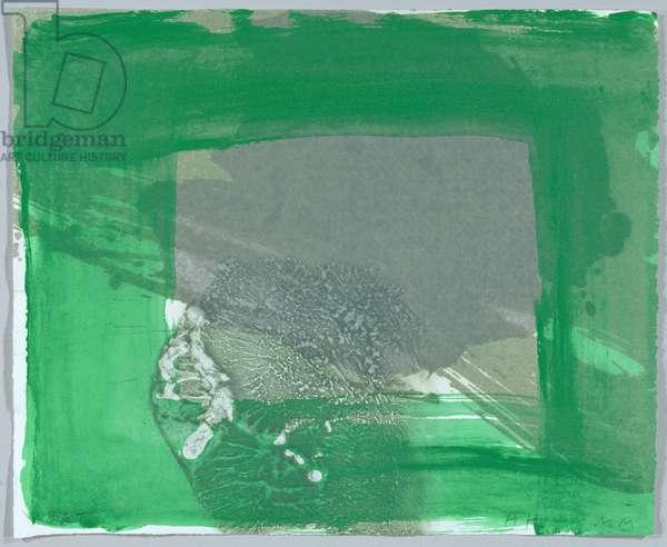 Rain, 2000-02 (hand-coloured lift-ground etching with aquatint & carborundum)