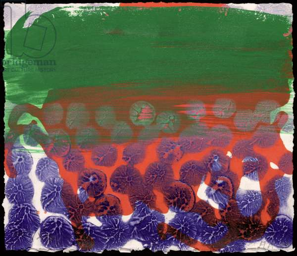 In a Public Garden, 1997-98 (hand-painted etching with carborundum)